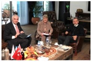 Right to left Serhat Akpinar, Margaret Sheard, Chris Elliott