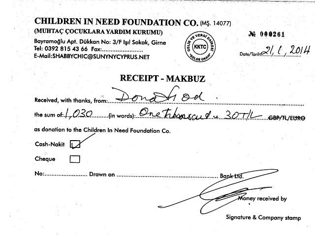 Children in Need receipt