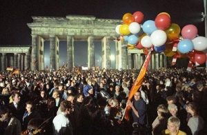A huge crowd celebrate the German Reunification in the night of 02 to 03 October 1990 under the Brandenburg Gate in Berlin. The German are reunited in one sovereign state 45 years after the end of WWII as the GDR enters into the Federal Republic.
